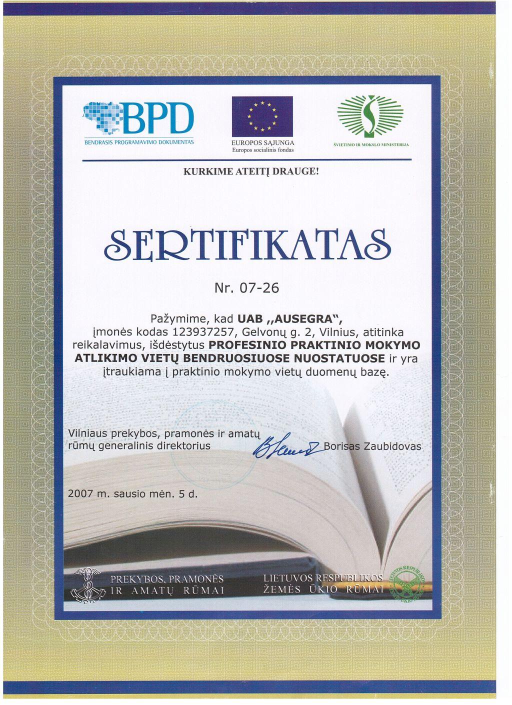 socialinės partnerystės sertifikatas